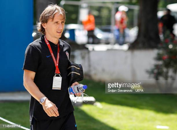 Luka Modric of Croatia arrives prior to the UEFA Euro 2020 Qualifiers Group E match between Croatia and Wales at stadium Gradski Vrt on June 8 2019...