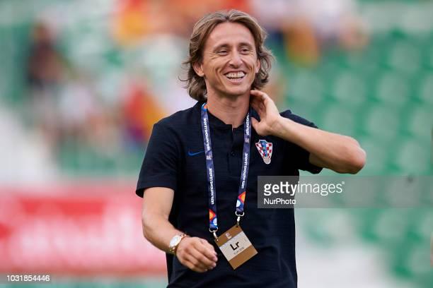 Luka Modric of Croatia before the UEFA Nations League football match between Spain and Croatia at Martinez Valero Stadium in Elche Spain on September...