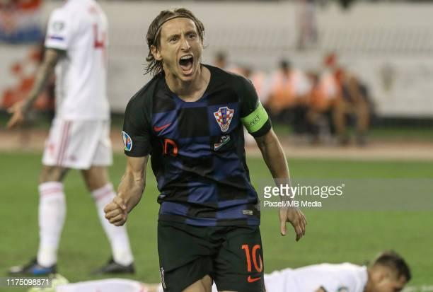 Luka Modric of Croatia celebrates a goal during UEFA Euro 2020 qualifier between Croatia and Hungary on October 10, 2019 in Split, Croatia.