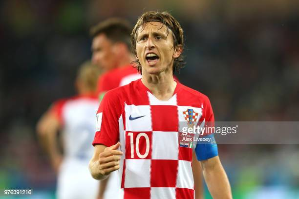 Luka Modric of Croatia celebrates after scoring a penalty for his team's second goal during the 2018 FIFA World Cup Russia group D match between...