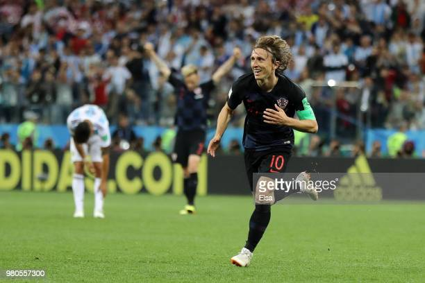 Luka Modric of Croatia celebrates after scoring his team's second goal during the 2018 FIFA World Cup Russia group D match between Argentina and...