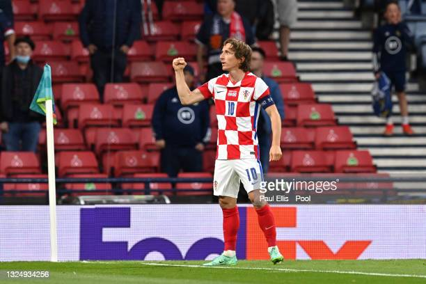 Luka Modric of Croatia celebrates after scoring their side's second goal during the UEFA Euro 2020 Championship Group D match between Croatia and...
