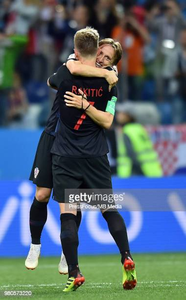 Luka Modric of Croatia celebrates after the 2018 FIFA World Cup Russia group D match between Argentina and Croatia at Nizhny Novgorod Stadium on June...