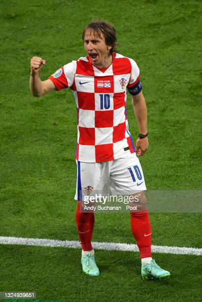 Luka Modric of Croatia celebrates after victory in the UEFA Euro 2020 Championship Group D match between Croatia and Scotland at Hampden Park on June...