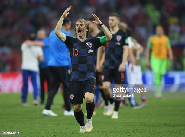 Luka Modric of Croatia celebrates following their sides victory during the 2018 FIFA World Cup Russia Quarter Final match between Russia and Croatia...