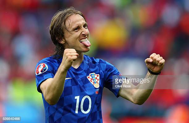 Luka Modric of Croatia celebrates his team's 10 win in the UEFA EURO 2016 Group D match between Turkey and Croatia at Parc des Princes on June 12...