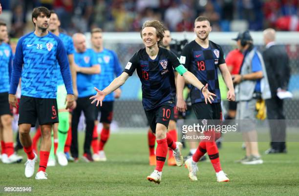 Luka Modric of Croatia celebrates his team's victory following the 2018 FIFA World Cup Russia Round of 16 match between Croatia and Denmark at Nizhny...