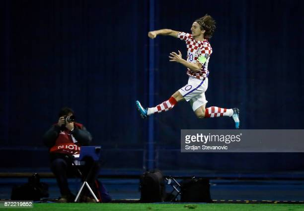 Luka Modric of Croatia celebrates scoring a goal during the FIFA 2018 World Cup Qualifier Play-Off: First Leg between Croatia and Greece at Stadion...