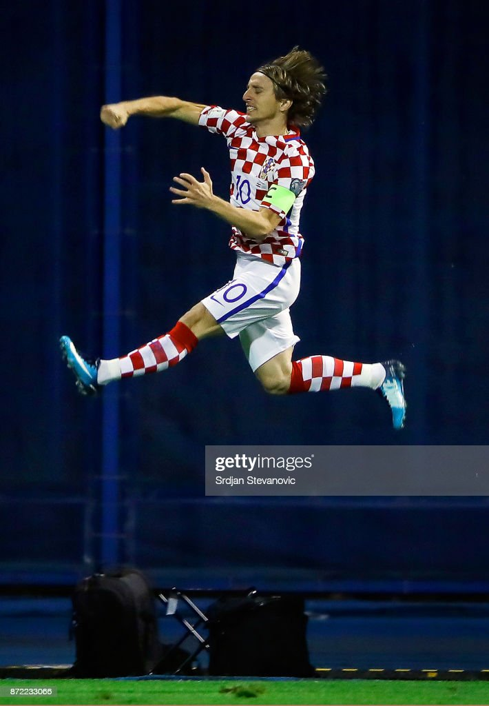 Luka Modric of Croatia celebrates scoring a goal during the FIFA 2018 World Cup Qualifier Play-Off: First Leg between Croatia and Greece at Stadion Maksimir on November 9, 2017 in Zagreb, Croatia