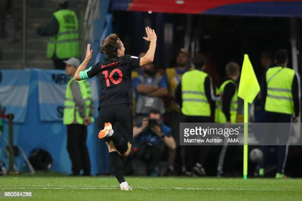 Luka Modric of Croatia celebrates scoring a goal to make it 02 during the 2018 FIFA World Cup Russia group D match between Argentina and Croatia at...