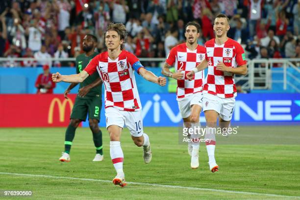 Luka Modric of Croatia celebrates scoring from a penalty for his sides second goal during the 2018 FIFA World Cup Russia group D match between...
