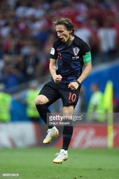 Luka Modric of Croatia celebrates scoring his team's third penalty in the penalty shoot out during the 2018 FIFA World Cup Russia Quarter Final match...