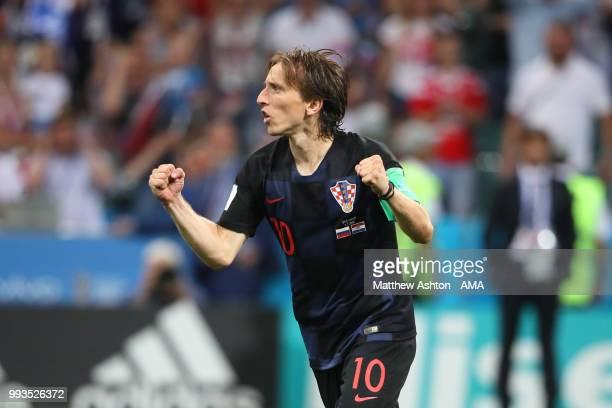 Luka Modric of Croatia celebrates scoring in a penalty shootout during the 2018 FIFA World Cup Russia Quarter Final match between Russia and Croatia...