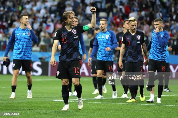 Luka Modric of Croatia celebrates victory following the 2018 FIFA World Cup Russia group D match between Argentina and Croatia at Nizhny Novgorod...