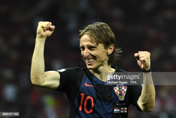 Luka Modric of Croatia celebrates victory following the 2018 FIFA World Cup Russia Semi Final match between England and Croatia at Luzhniki Stadium...