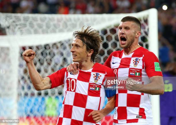 Luka Modric of Croatia celebrates with Ante Rebic after scoring from a penalty for his sides second goal during the 2018 FIFA World Cup Russia group...