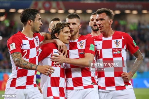 Luka Modric of Croatia celebrates with teammates after scoring a penalty for his team's second goal the 2018 FIFA World Cup Russia group D match...