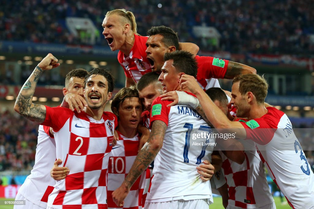 Luka Modric of Croatia celebrates with teammates after scoring his team's second goal during the 2018 FIFA World Cup Russia group match between Croatia and Nigeria at Kaliningrad Stadium on June 16, 2018 in Kaliningrad, Russia.