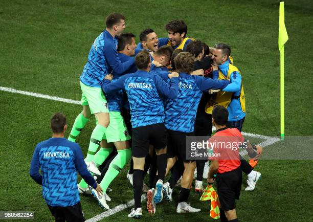 Luka Modric of Croatia celebrates with teammates after scoring his team's second goal during the 2018 FIFA World Cup Russia group D match between...