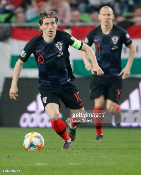 Luka Modric of Croatia controls the ball during the 2020 UEFA European Championships group E qualifying match between Hungary and Croatia at Groupama...