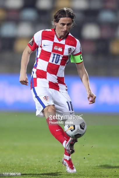 Luka Modric of Croatia controls the ball during the FIFA World Cup 2022 Qatar qualifying match between Croatia and Cyprus on March 27, 2021 at HNK...