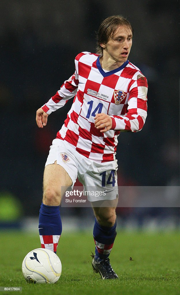 Luka Modric of Croatia controls the ball during the Tennent's International Challenge friendly match between Scotland and Croatia at Hampden Park on March 26, 2008 in Glasgow, Scotland.