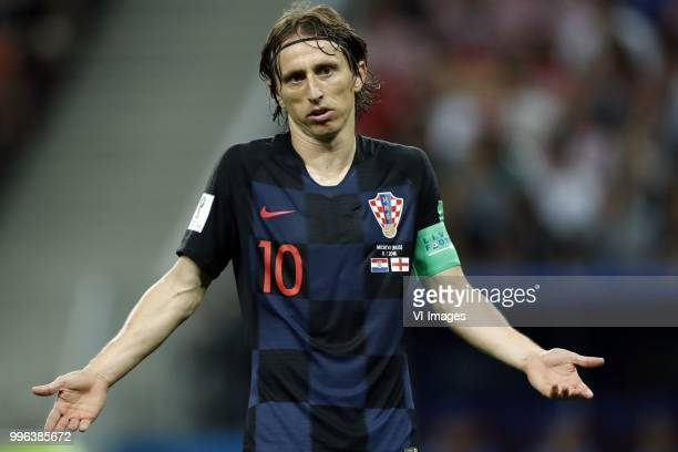 Luka Modric of Croatia during the 2018 FIFA World Cup Russia Semi Final match between Croatia and England at the Luzhniki Stadium on July 01 2018 in...