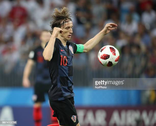 Luka Modric of Croatia during the 2018 FIFA World Cup Russia Semi Final match between England and Croatia at Luzhniki Stadium on July 11 2018 in...