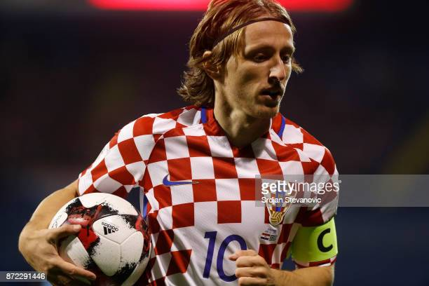 Luka Modric of Croatia during the FIFA 2018 World Cup Qualifier PlayOff First Leg between Croatia and Greece at Stadion Maksimir on November 9 2017...
