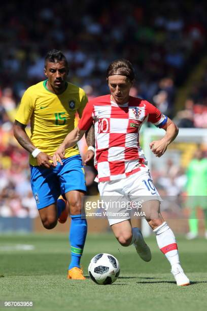 Luka Modric of Croatia during the International friendly match between Croatia and Brazil at Anfield on June 3 2018 in Liverpool England