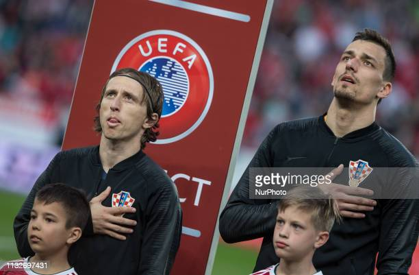 Luka Modric of Croatia during the National anthem before the Hungary and Croatia European Qualifying match at Groupama stadium on March 24 2019 in...