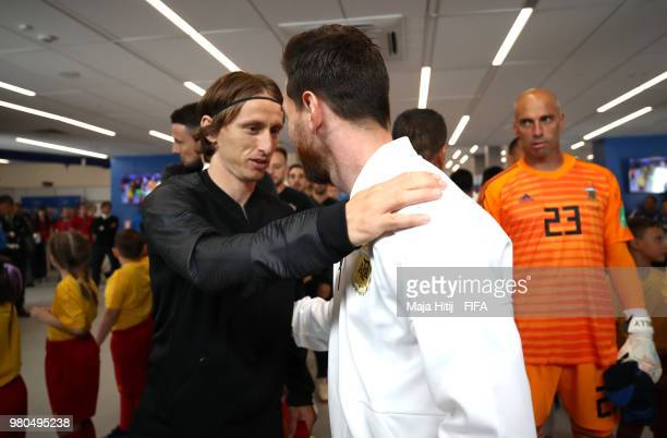 Luka Modric of Croatia greets Lionel Messi of Argentina in the tunnel prior to the 2018 FIFA World Cup Russia group D match between Argentina and...