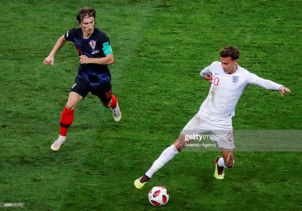 Luka Modric (10) of Croatia in action against Dele Alli (20) of England during the 2018 FIFA World Cup Russia Semi Final match between England and Croatia at Luzhniki Stadium on July 11, 2018 in Moscow, Russia. Croatia have advanced to their first ever World Cup final after beating England 2-1.