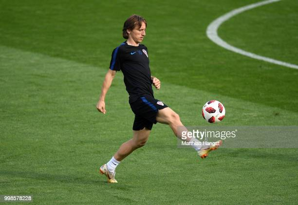 Luka Modric of Croatia in action during a Croatia training session during the 2018 FIFA World Cup at Luzhniki Stadium on July 14 2018 in Moscow Russia