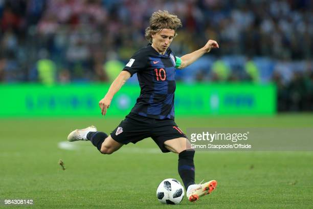 Luka Modric of Croatia in action during the 2018 FIFA World Cup Russia Group D match between Argentina and Croatia at the Nizhny Novgorod Stadium on...