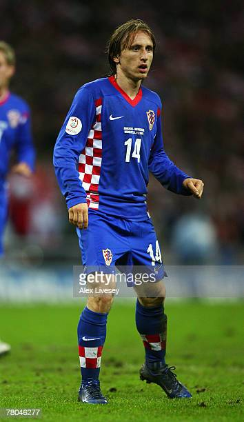 Luka Modric of Croatia in action during the Euro 2008 Group E qualifying match between England and Croatia at Wembley Stadium on November 21 2007 in...