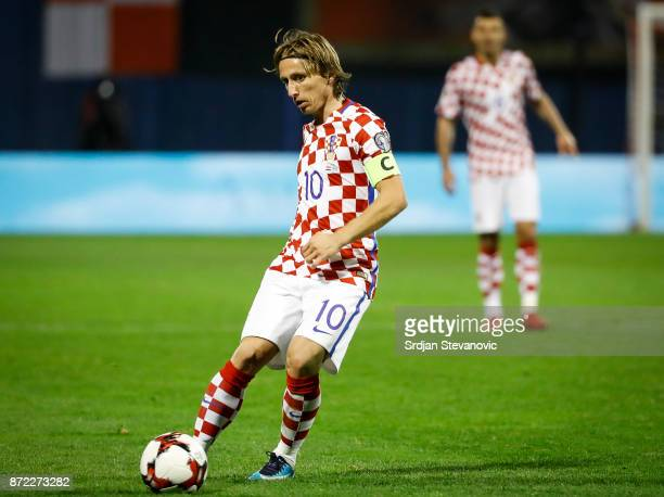 Luka Modric of Croatia in action during the FIFA 2018 World Cup Qualifier PlayOff First Leg between Croatia and Greece at Stadion Maksimir on...
