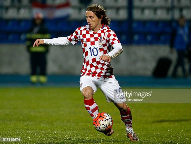 Luka Modric of Croatia in action during the International Friendly match between Croatia and Israel at stadium Gradski Vrt on March 23 2016 in Osijek...