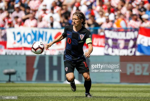 Luka Modric of Croatia in action during the UEFA Euro 2020 Qualifiers Group E match between Croatia and Wales at stadium Gradski Vrt on June 8 2019...