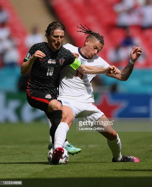 Luka Modric of Croatia is challenged by Kalvin Phillips of England during the UEFA Euro 2020 Championship Group D match between England and Croatia...