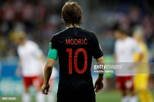 Luka Modric of Croatia is seen during the 2018 FIFA World Cup Russia Round of 16 match between Croatia and Denmark at the Nizhny Novgorod Stadium in...