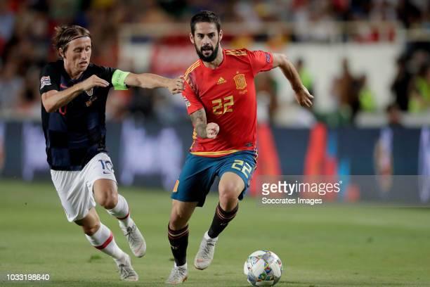 Luka Modric of Croatia Isco of Spain during the UEFA Nations league match between Spain v Croatia at the Estadio Manuel Martínez Valero on September...