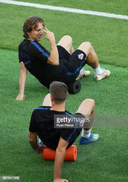 Luka Modric of Croatia jokes during a Croatia training session during the 2018 FIFA World Cup at Luzhniki Training Field on July 13 2018 in Moscow...