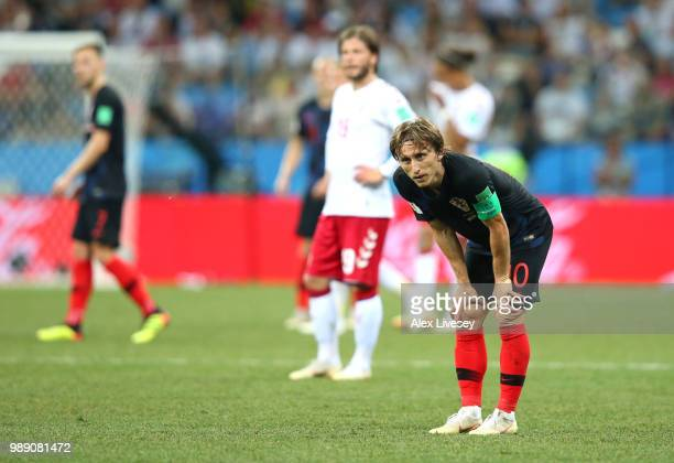 Luka Modric of Croatia looks dejected after missing a penalty during the 2018 FIFA World Cup Russia Round of 16 match between Croatia and Denmark at...