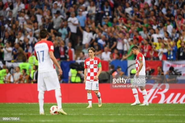 Luka Modric of Croatia looks dejected during the 2018 FIFA World Cup Final between France and Croatia at Luzhniki Stadium on July 15 2018 in Moscow...
