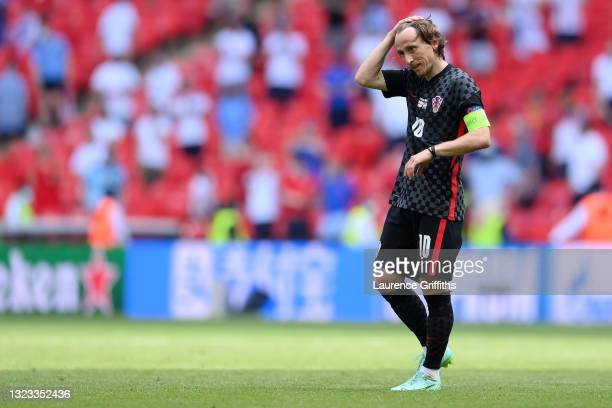 Luka Modric of Croatia looks dejected following defeat in the UEFA Euro 2020 Championship Group D match between England and Croatia at Wembley...