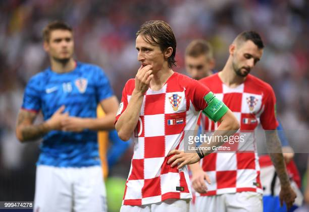 Luka Modric of Croatia looks dejected following the 2018 FIFA World Cup Final between France and Croatia at Luzhniki Stadium on July 15 2018 in...