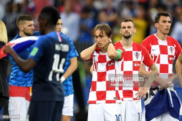 Luka Modric of Croatia looks dejected following the 2018 FIFA World Cup Final between France and Croatia at Luzhniki Stadium on July 15 2018 in...
