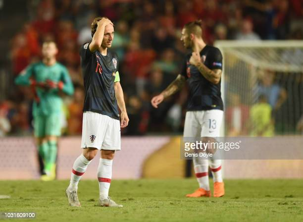 Luka Modric of Croatia looks dejected in defeat after the UEFA Nations League A Group four match between Spain and Croatia at Estadio Manuel Martinez...