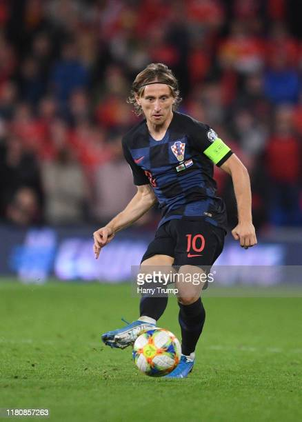 Luka Modric of Croatia looks for a pass during the UEFA Euro 2020 Qualifier between Wales and Croatia at the Cardiff City Stadium on October 13, 2019...